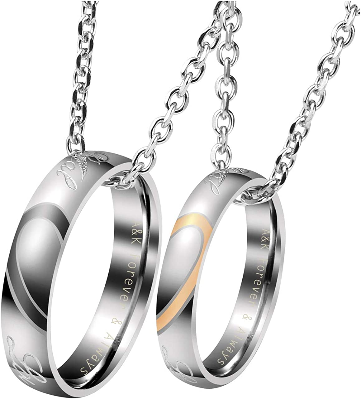 Personalized Master Custom Name His & Hers Real Love Matching Rings Set Stainless Steel Couples Pendant Necklaces Engagement Wedding Valentine's Day