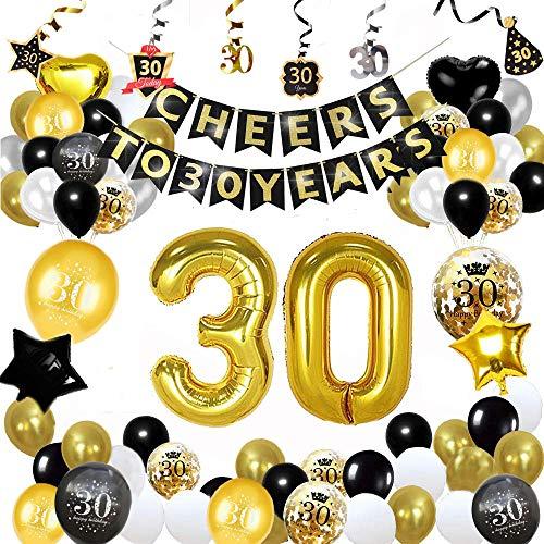 30 Cumpleaños Decoracione, Globos Feliz Cumpleaños Negro y Dorado Decoración Fiesta Cumpleaños,...