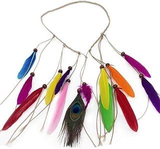 Gysad Estilo bohemio Diademas mujer Pluma multicolor Cintas para el pelo Estilo hippie Accesorios para el cabello Cinta pelo