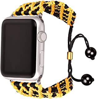 Bandmax Yellow&Black Compatible Nylon Apple Watch Bands 42MM/44MM,iWatch Series 5/4/3/2/1 Wristband Accessories Sport Stra...