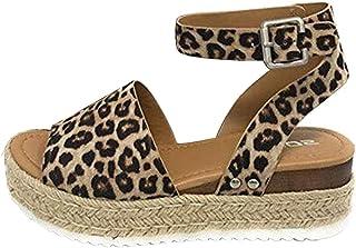 Zlolia Women's Leopard Wedge Roman Sandals Heeled Adjustable Ankle Strap Woven Sole Platform Sandals