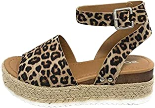 Mother's Day Gifts!!! Women's Espadrille Sandal, Retro Leopard Peep Toe Sandals Summer Ankle Strap Buckle Flatform Wedges Rubber Sole Shoes