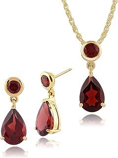 Gemondo 9CT Oro Amarillo Mozambique Granate Dos Piedras Pendientes & 45cm Necklace Set
