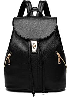 Xuan Yuan Backpack - Women's Fashion Versatile Faux Leather Bag Simple Leisure Travel to Work Multi-Function Backpack Large Capacity Can Accommodate 8 Inch Computer Backpack (Color : Black)