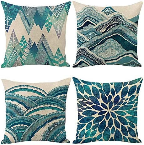 Jasfura Set of 4 Spring Teal Throw Pillow Covers 18x18 Inch Ocean Bohemia Decorative Couch Pillow product image
