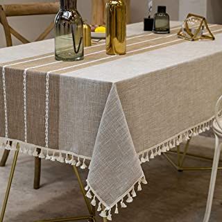 TEWENE Tablecloth, Rectangle Table Cloth Cotton Linen Wrinkle Free Anti-Fading Embroidery Tablecloths Washable Dust-Proof for Tabletop Decoration (Rectangle/Oblong, 55''x86'',6-8 Seats, Light Coffee)