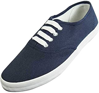 Easy USA - Womens Canvas Lace Up Shoe with Padded Insole, Navy 37303-8.5B(M) US