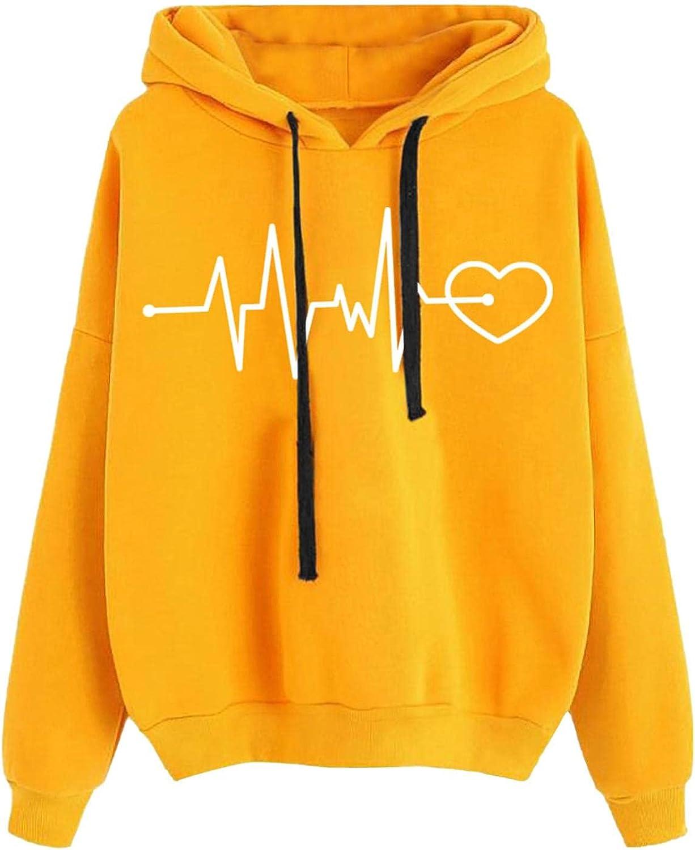 Toeava Women's Sweatshirt Pullover Wavy Line Graphic Print Long Sleeve Drawstring Hoodie Casual Tops Sweatshirts
