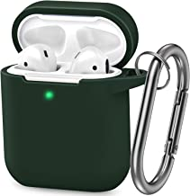 AirPods Case, Silicone Cover with U Shape Carabiner,360°Protective,Dust-Proof,Super Skin Silicone Compatible with Apple AirPods 1st/2nd (Dark Green)