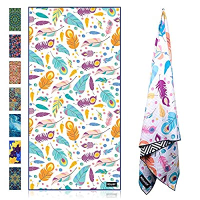 KOLLIEE Microfiber Beach Towels Sand Free Quick Dry Portable Pool Towels Colorful Compact Absorbent Beach Towels with Bag Beach Towels for Adults Girls Women 31x63 inch (Feather)