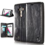 LG G4 Wallet Case Leather,Slim Fit Flip Cover Leather Wallet Case [Folio Style] [Stand Feature] Phone Case with Credit Card Holders Cash Slot Case for LG G4 Devices - Black