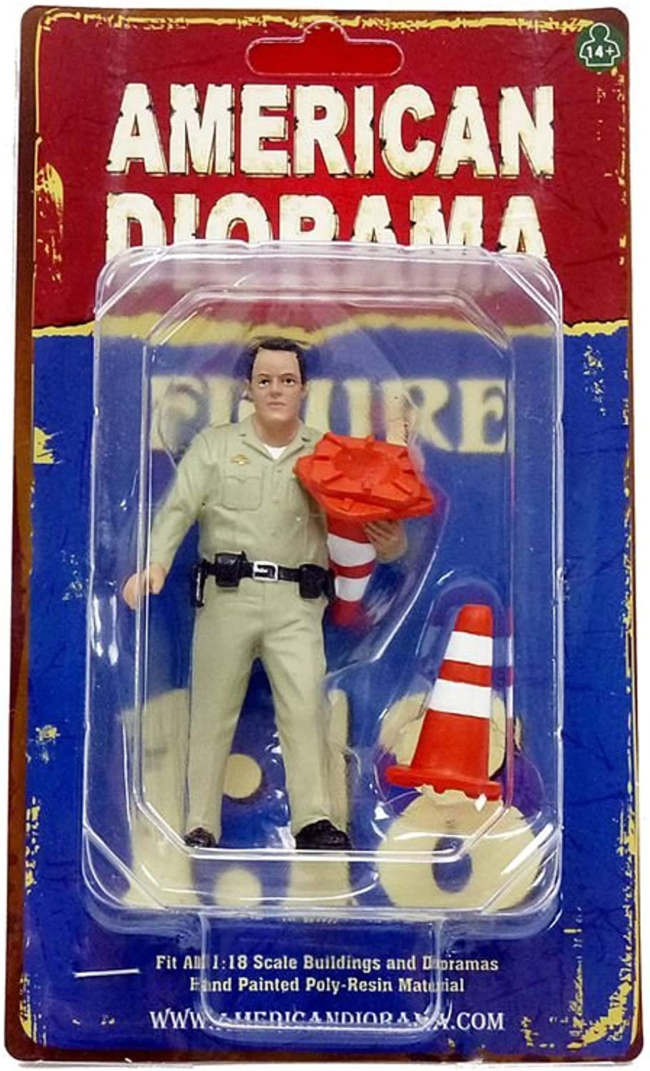 American Diorama 77464 Highway Patrol Officer Collecting Cones Figurine for 1 isto 18 Models