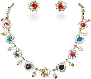 EVER FAITH Austrian Crystal Gorgeous Flower Snowflake Necklace Earrings Set for Feast, Bridal