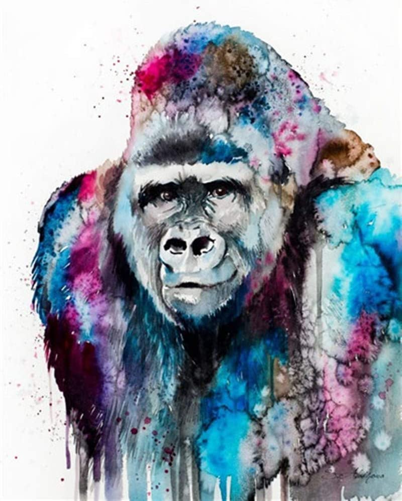 YEESAM ART Paint by Numbers Free Shipping New for Mo Gorilla Adults Kids Import Colorful