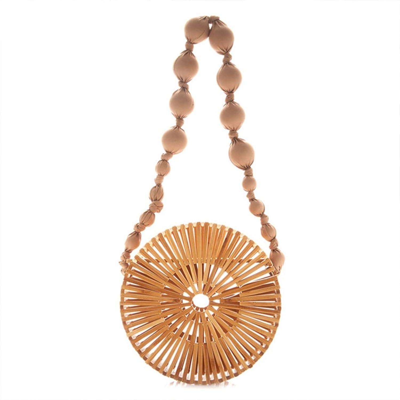 Bamboo Handbags for Women,Round Handmade Hollow Woven Beach Crossbody Tote Bag