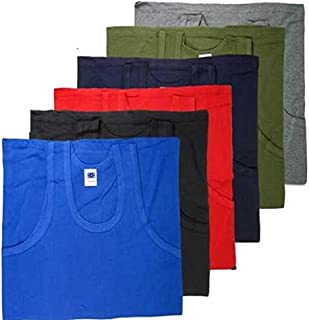 Keanu Mens Fitted 100% Cotton Vests Pack of 6 (Large, Assorted Colours)