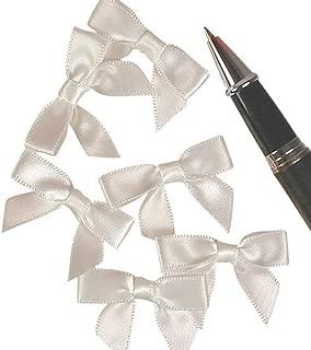 Mini White Satin Bows - 1 3/8 x 1 - 50 Pack