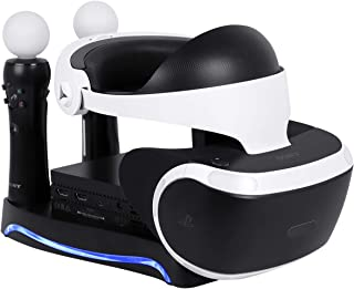 Puroma - Soporte de carga y pantalla 4 en 1 para PS VR con soporte de almacenamiento para auriculares, controladores de 2 modos y estación de carga y soporte para unidad de procesador