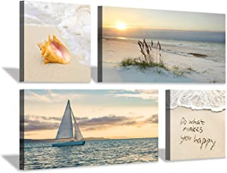 Hardy Gallery Beach Picture Sunset Canvas Art: Seascape Painting with Sailboat & Coastal Conch Artwork Wall Art for Bedroom (24'' x 12'' x 2 Panels + 12'' x 12'' x 2 Panels)