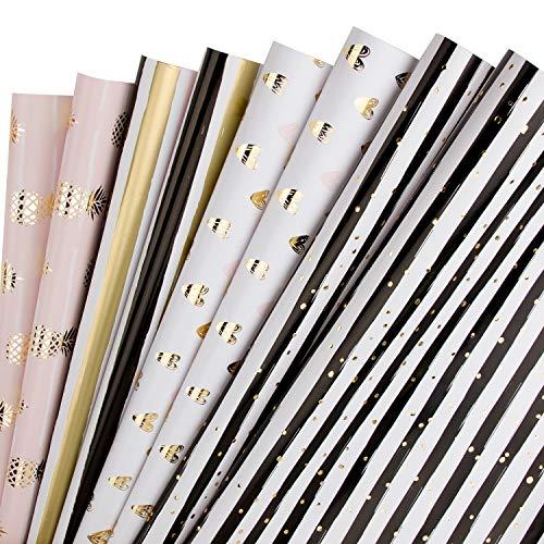 RUSPEPA Geschenkpapier Blatt - Ananas/Herz/Streifen (2 Arten) Design Für Geburtstag, Valentinstag, Hochzeit, Babyparty Geschenkpapier - 1 Rolle enthält 8 Blatt - 44,5 X 76 cm Pro Blatt