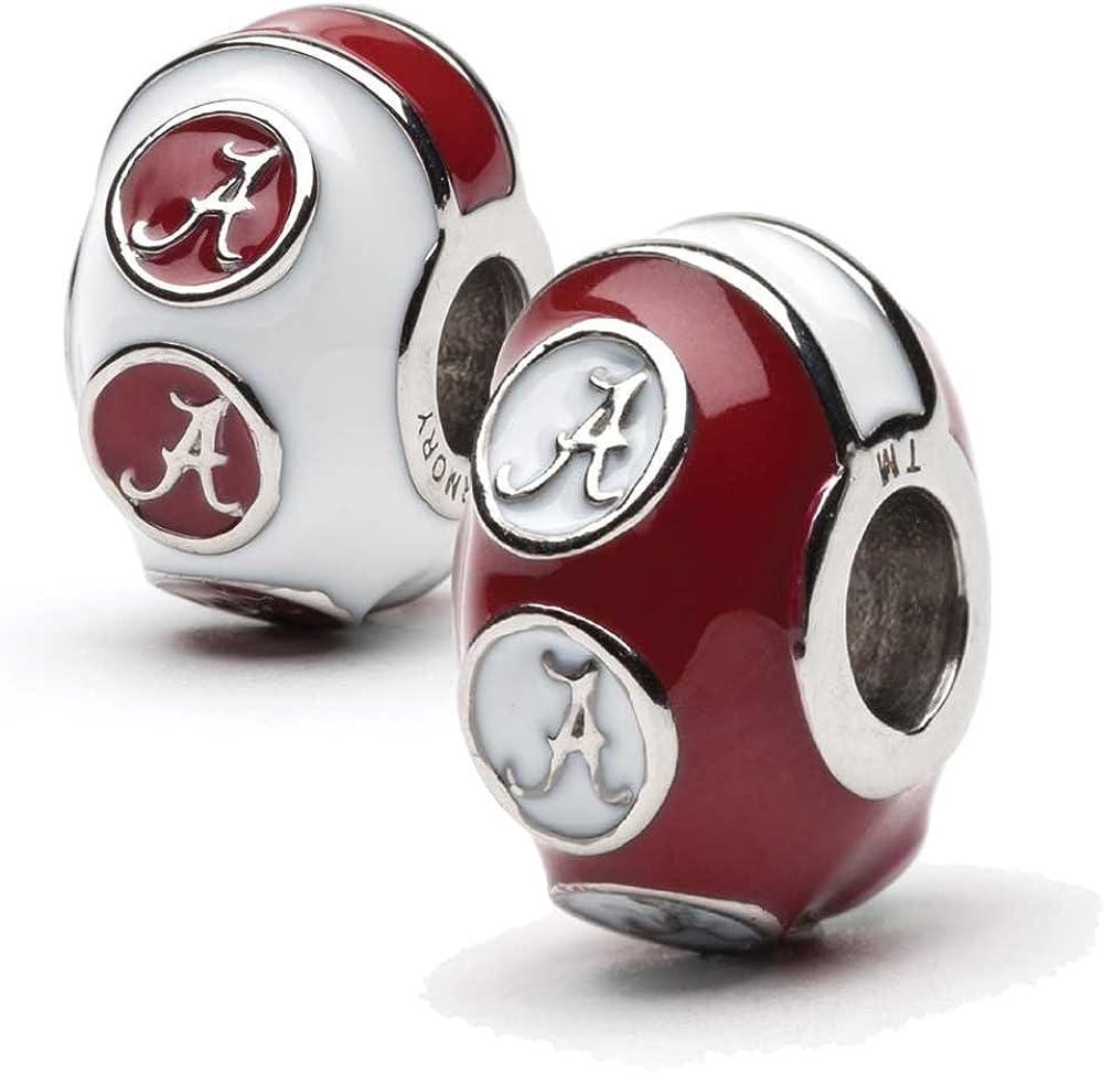 University of Alabama Bead Charm Set   Stainless Steel Alabama Charms   Set of Two Crimson Tide Charms   University of Alabama Gift   Fits Most Popular Charm Bracelets