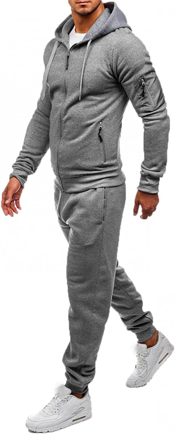 XUNFUN Men's Tracksuits 2 Piece Hooded Athletic Sweatsuits Solid Casual Running Jogging Sport Suit Sets with Zipper Pockets