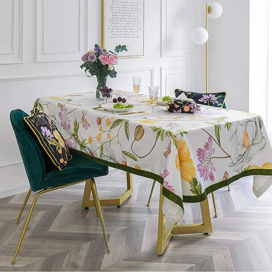 キャラバン論争的洗うモダンなテーブルクロス、花と鳥の植物長方形のコーヒーテーブルテレビキャビネットテーブルクロス,110*110cm
