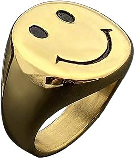 IDesign Smiley Face Ring chunky Gold White Silver Signet Ring, Stainless Steel Asthetic Cool Rings For Egirl Eboy Handmade...