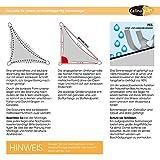 Sonnensegel Sonnenschutz Garten | UV-Schutz PES Polyester wasser-abweisend imprägniert | CelinaSun 0011683 | Dreieck rechtwinklig 3 x 3 x 4,25 m creme-weiß - 3