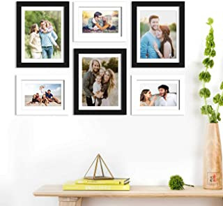 Art Street Set of 6 Black & White Wall Photo Frame, Picture Frame for Home Decor with Free Hanging Accessories-Size-6x8, 8x10 inchs