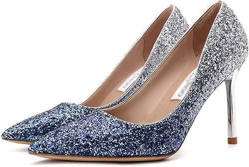 LIUYL damen Stiletto High Heel Spitzen Zehen Sandalen Pailletten Farbverlauf Schuhe Slip-On Sandalen Sexy Hochzeit Braut Kleid Pumps,Blau9CM-39
