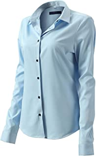 FLY HAWK Womens Button Down Shirts Slim Fit Dress Shirts Basic Long Sleeve Bamboo Fiber Formal Casual Shirts Blouses
