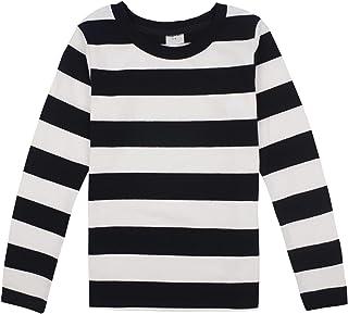Spring&Gege Boys' Cotton Long Sleeve Striped Crew Neck T-Shirt