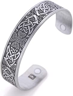 TEAMER Magnetic Bracelet Bangle Celtic Knot Cross Health Care Therapy Engraved Cuff Bracelet for Men