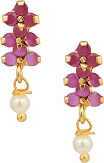 Archi Collection Ethnic Metal Gold Plated Stud Earrings for Women & Girls