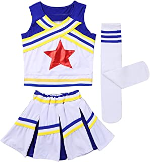 Agoky Ensemble V/êtements Danse /éguisement Pom-Pom Girls Femme Cosplay Costume Danse Cheerleading D/ébardeur Short Jupe Mini Pliss/é /École Robe Danse Jazz Cheer Leader