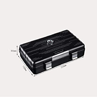 LBLMSB Cigar Humidors, Portable Waterproof Humidors, Cigar Cutters, Cigar Cases, Silver/Black, The Best Cigarette Case for Cigars (Color : Black)