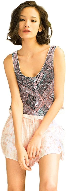 Summer new vintage printed sexy vest ladies pajamas ( color   Brown , Size   XL )