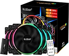 Pccooler 120mm Fan Moonlight Series 5 in 1 Kit Upgrade,PC-5M120 ARGB LED Computer Case Fan - PWM Cooling Fan - Dual Light Loop Quiet Fan/Multiple Light Modes with Wireless Controller for PC Case