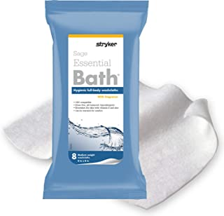 Essential Bath Cleansing Washcloths (6 Packs, 48 Cloths) Rinse Free Bathing Wipes, Ultra Soft and Thick, Hypoallergenic