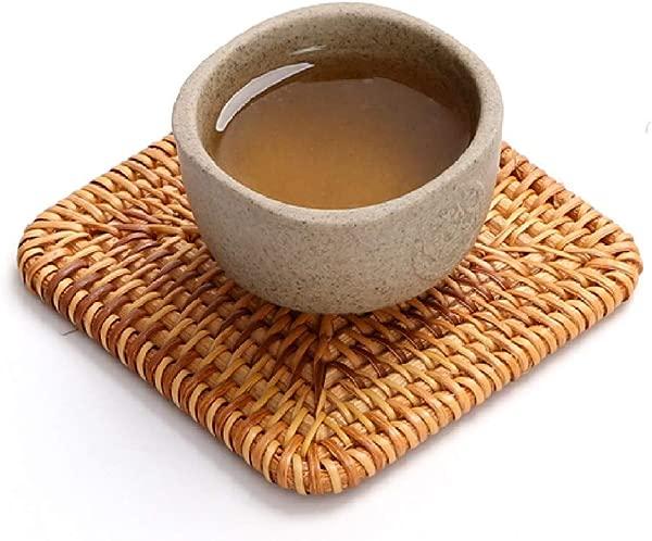 4Packs Handmade Square Rattan Coaster Drinks Cupmat Coffee Coasters 3 9inch