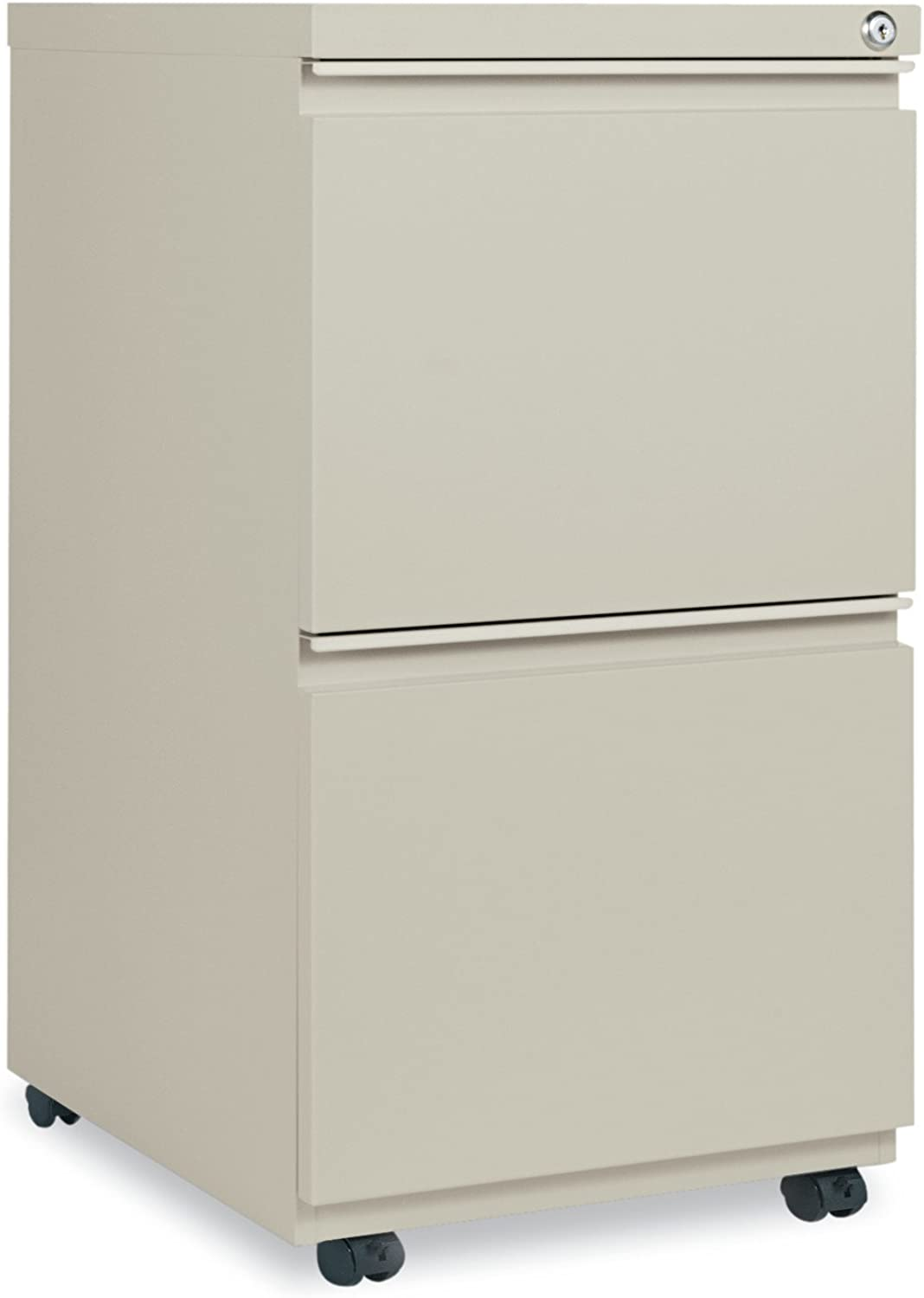 Alera ALEPBFFPY Two-Drawer Metal Pedestal File With Full-Length Pull, 14 7 8w x 19 1 8d, Putty