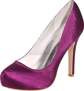 Vimedea Womens Round Toe Platform Heeled Slip On Dress Pump Prom Party Wedding 6915-03A