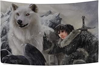 MJG The Song of Ice and Fire Game of Thrones Jon Snow Ghost Direwolf Stark Clan Wall Hanging Tapestry Bedroom Living Room Beach Doorway Curtain Christmas Thanksgiving Day Decoration 60 X 40 Inch