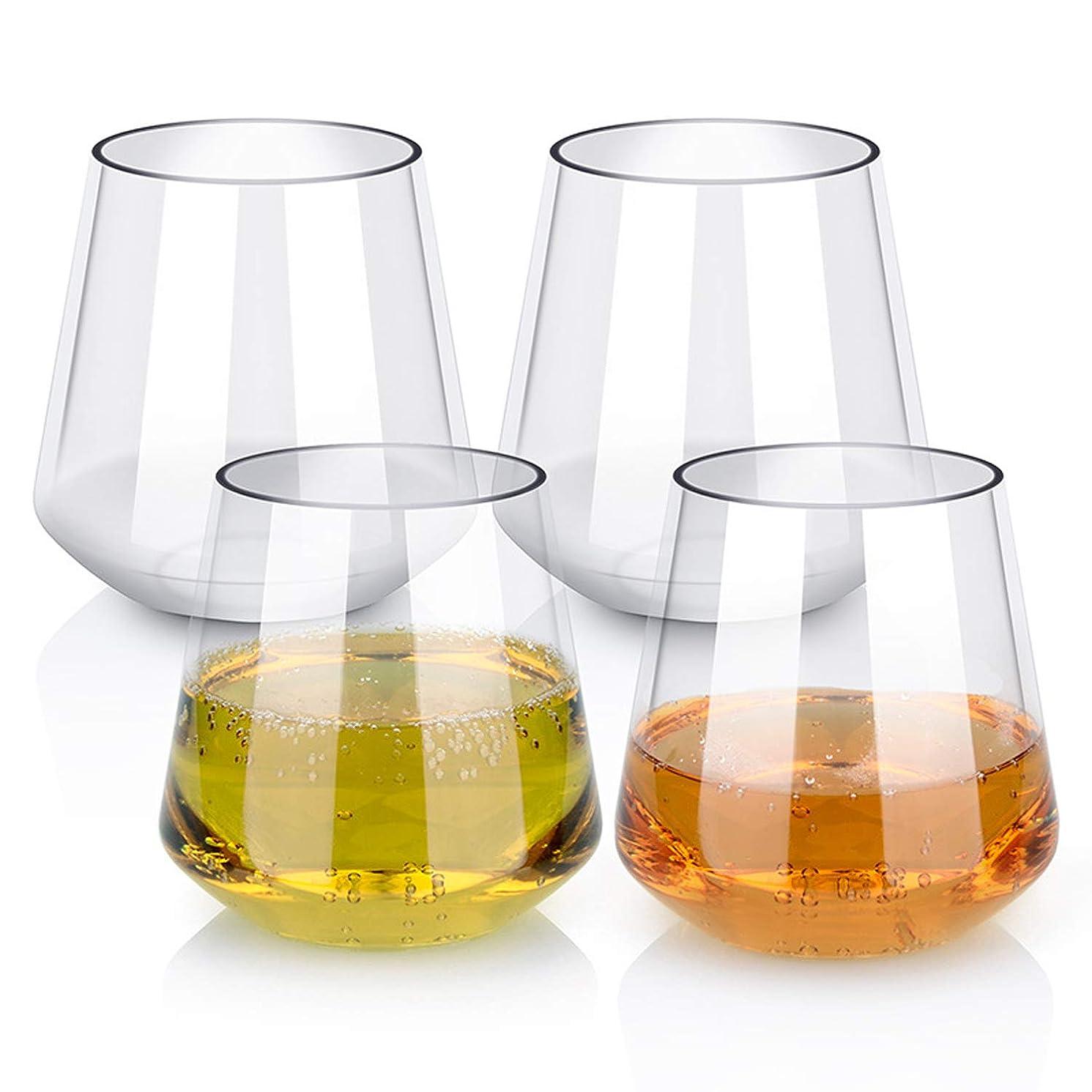 ラベ食べる期待するYesland 16オンス ステムレスプラスチックワイングラス 再利用可能 壊れにくい 飛散防止 BPAフリー シャンパンカップ 自宅 オフィス バー 結婚式 ブライダルベビーシャワーでの使用に最適
