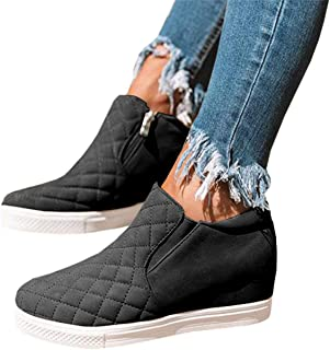Chellysun Womens Wedge Sneakers Platform High Top Classic Side Zipper Winter Ankle Booties