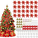 Juego Decorativo de Flores para Navidad, 120 Piezas Poinsettia Brillante Adorno de Árbol de Navidad Flores Navideñas para Adornos de árboles de Navidad, Coronas de Navidad