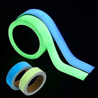 WIWAPLEX 2Pack Glow in The Dark Tape, Green Blue Luminous Tape Sticker 33 feet Length, 0.6Inch or 1.2Inch Width (2Pack 33ft X 1.2Inch)