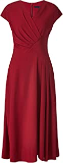 ROEYSHOUSE Women's V-Neck A-Line Midi Cocktail Dress with Faux Wrap Front and Cap Sleeves