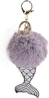 Sanwooden Cute Fluffy Mermaid Key Chain Artificial Fur Ball Key Ring Car Bag Decor